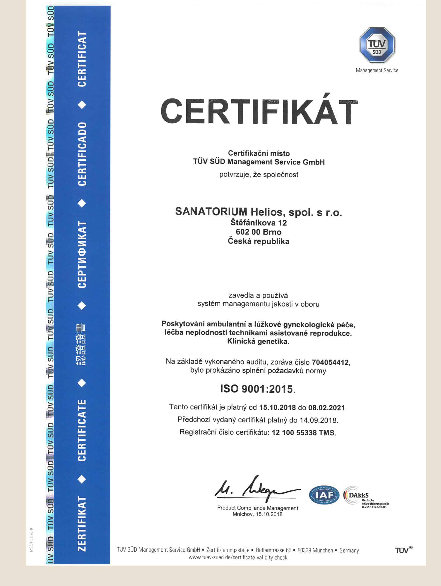 sanatorium helios acreditation